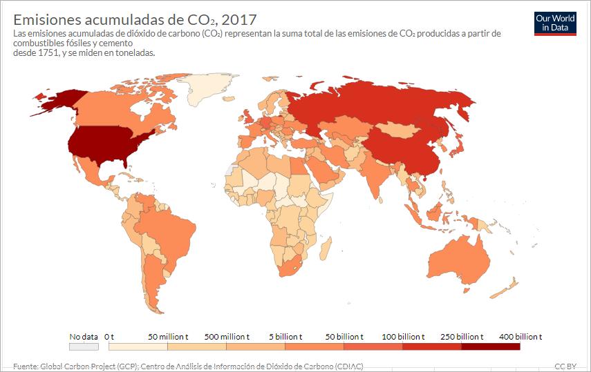 Emisiones acumuladas de CO2, 2017